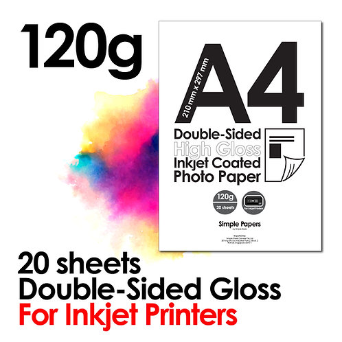 120g Double-Sided Gloss Inkjet Photo Paper (In packs of 20 sheets)