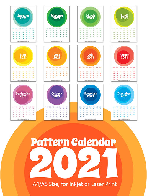 DIY Printing - 2021 Retro Pattern Calendar Artwork (A4/A5 Size)