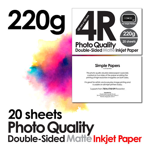 220g 4R Size Double-Sided Matt Photo Inkjet Paper (In packs of 20 sheets)