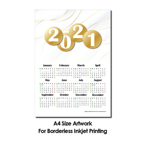 DIY Printing - 2021 Calender Artwork (A4 Size, Borderless Printing)