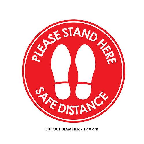 DIY Printing- Safe Distancing Rounded Floor Artwork  (19.8 cm diameter) - Red