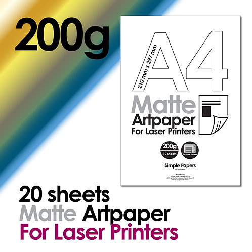 200g Double-Sided Matte Artpaper for Laser Printing (In packs of 10 sheets)