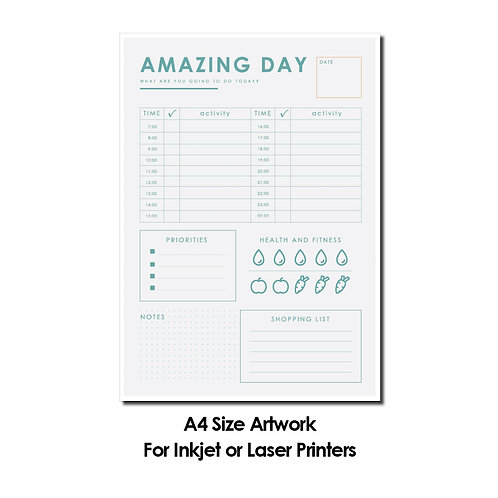 DIY Printing - Daily Planner Artwork (A4 Size, for Inkjet or Laser Printers)