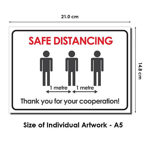 DIY Printing - 1 Metre Safe Distancing Reminder Artwork (A5 Size, Inkjet/Laser)