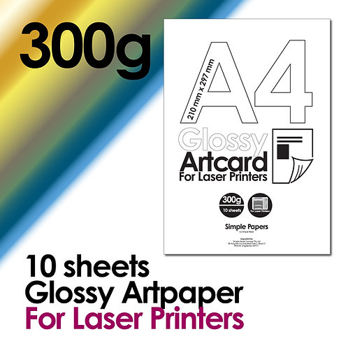 300g Double-Sided Gloss Artcard for Laser Printing (In packs of 10 sheets)