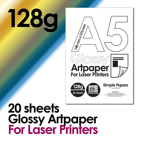 128g Double-Sided Gloss Artpaper for Laser Printing (In packs of 20 sheets)