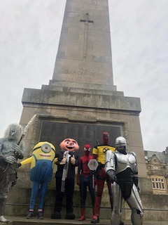 At the cenotaph with the team