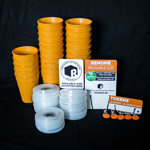 Renome reusable cup network 25 cups 5 token starter pack
