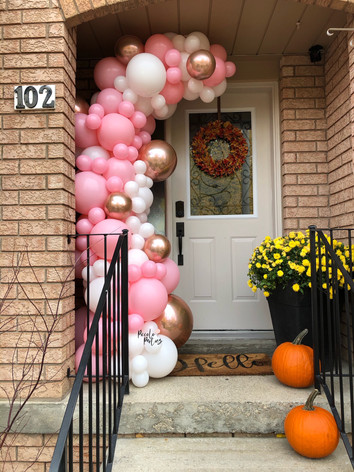 pink and rose gold balloons