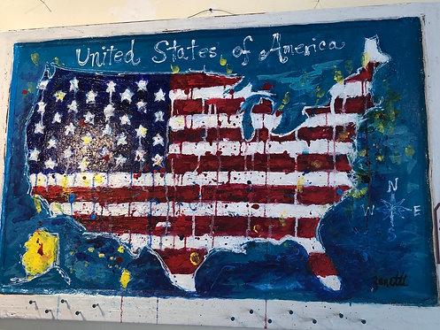 United States Flag on Vintage Window