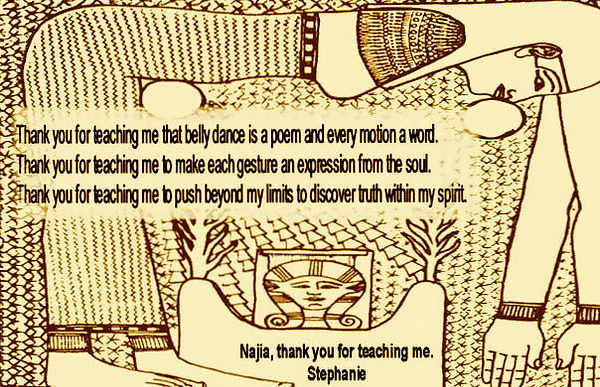 Bellydance students express gratitude to their teacher Najia