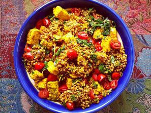 Turmeric Tempeh Wheat Berry Salad