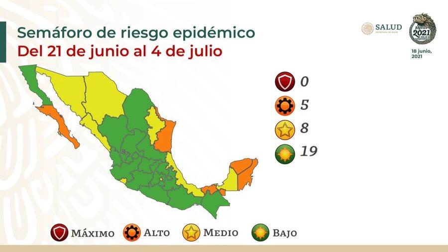 En verde 19 entidades federativas por Semáforo  Epidémico; CDMX y siete estados regresan a amarillo