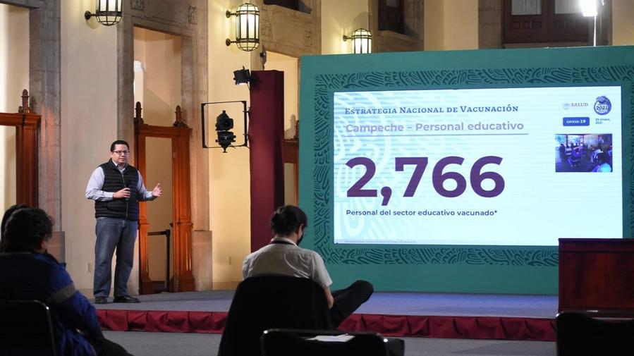 En Campeche dos mil 766 docentes recibieron la primera dosis de la vacuna Pfizer contra el COVID-19