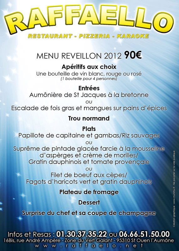 Flyer Menu reveillon