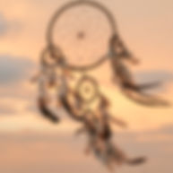 Dream Catcher on the sunset background__