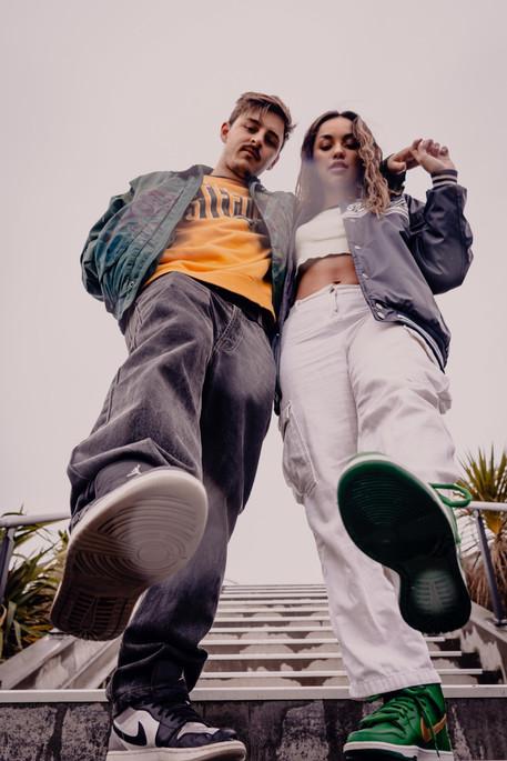 Hop hop dancers in a couple photoshoot