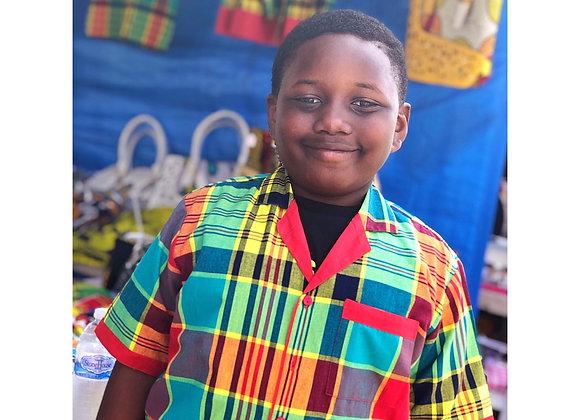 Boy's Madras Button Shirt
