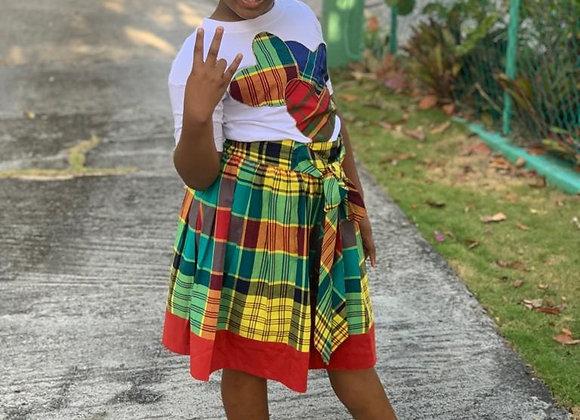 Girls Madras Tie Front Skirt