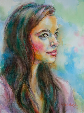 young girl portrait watercolor