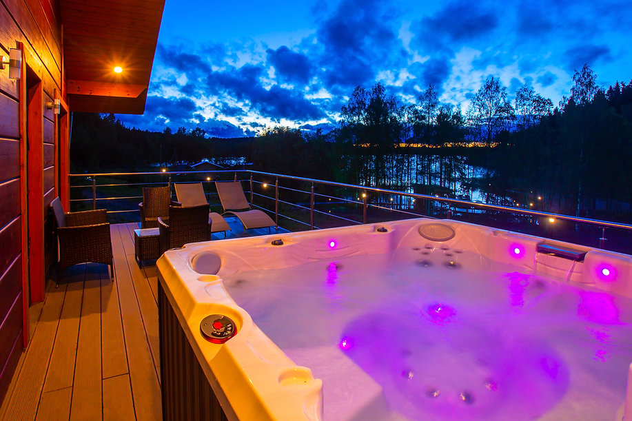 Hydromassage pool. Illuminated pool. Rest outside the city. Cottage with hydromassage pool