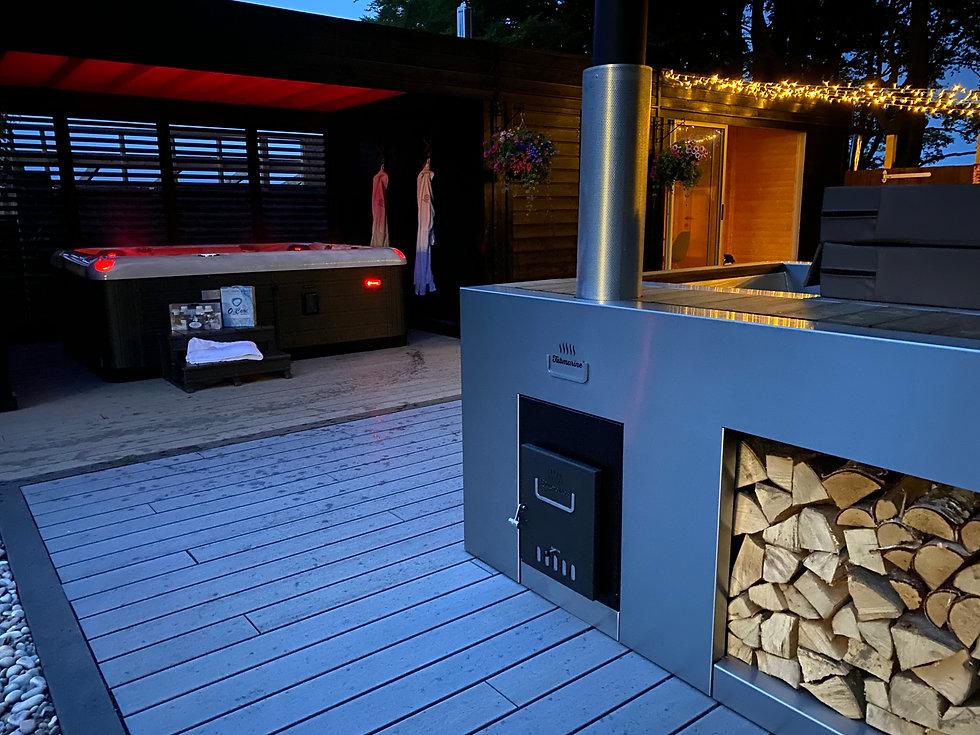 Award Winning Wood Burning Tubmarine Hot Tub Scottish Showroom from Penguin Spas Outdoor L