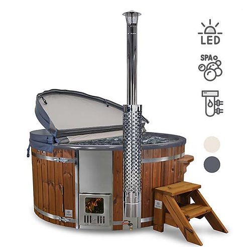 Gardenvity Wood Burning Hot Tub with bubbling air jets, water filtration system and LED mood lights