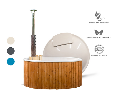Classic Fiberglass Wood Burning Hot Tub with INTERNAL HEATER