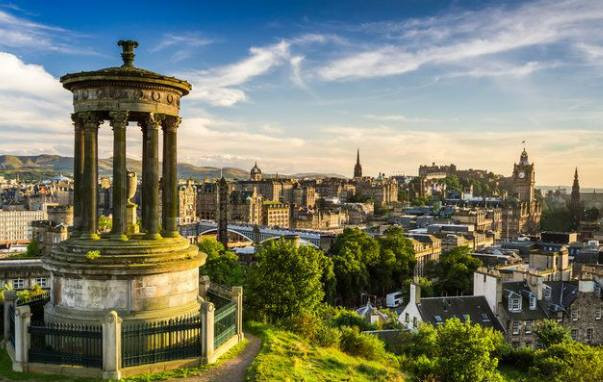 Calton Hill provides a panoramic view of the city, with Princes Street, the castle, and the Old Town silhouetted against Arthur's Seat. To the east and north you can see the Firth of Forth and the docks at Leith.