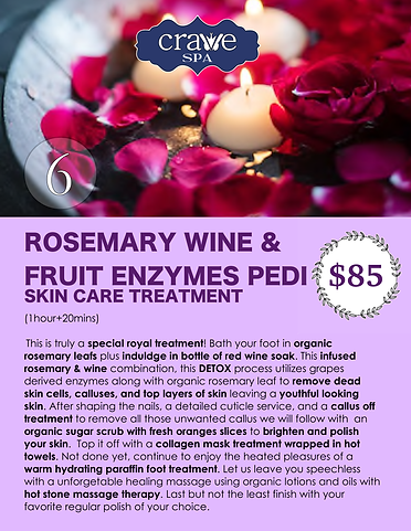 Crave Spa Menu Page 9-ROSEMARY WINE & FR