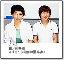 左から田ノ倉塾長A.H.さん(桐蔭学園卒業)の写真