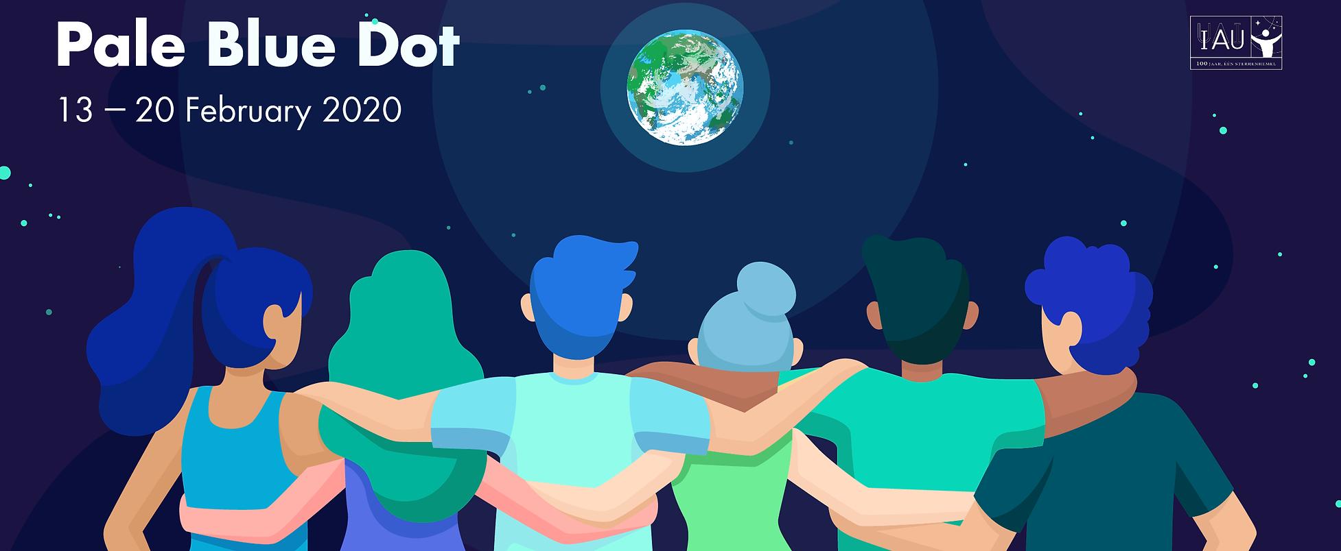 Dibujo de un grupo de gente mirando hacia la Tierra desde el espacio