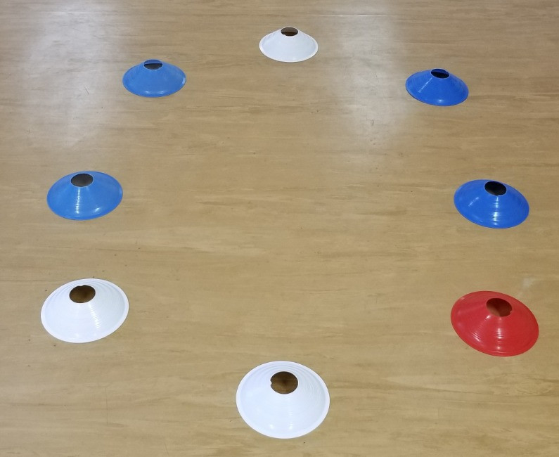 clock toe tap balance exercise cone setup