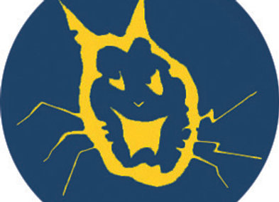 BADGE dead cat logo blue and yellow