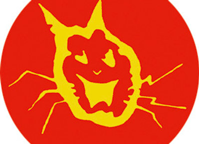 BADGE dead cat logo Red and Yellow