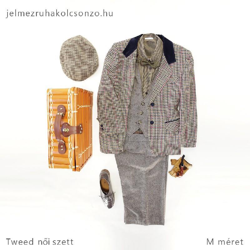 Kockás tweed szett
