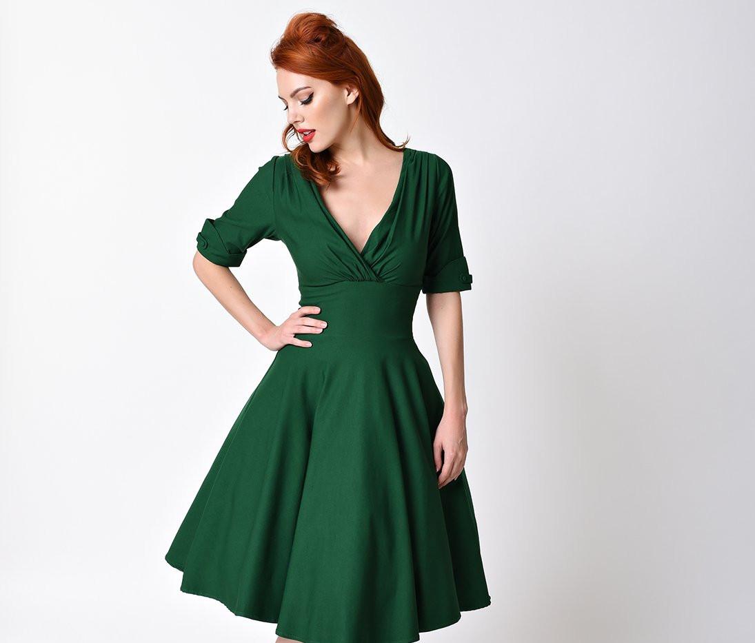 Unique_Vintage_1950s_Style_Emerald_Green