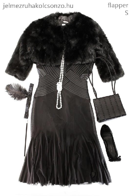 Fekete gatsby szett szőrme boleróval (GN025)