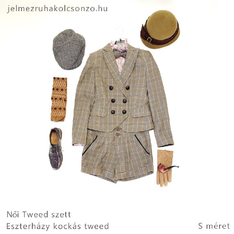 Kockás, rövidnadrágos tweed szett