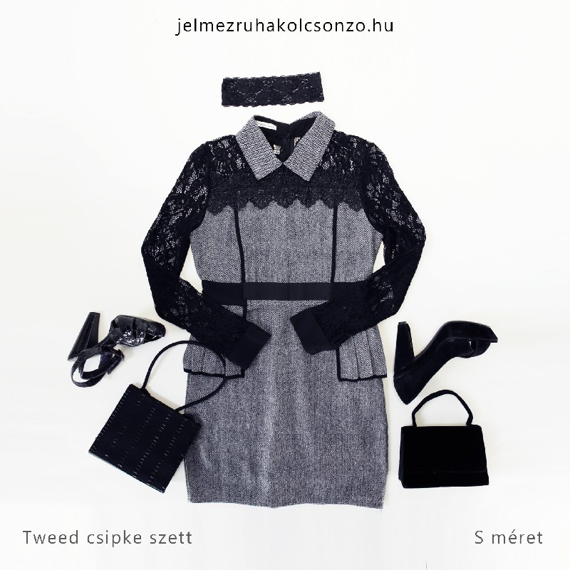 Különleges csipke-tweed ruha