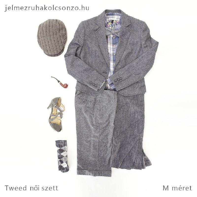 Árpaszem mintás szürke tweed kosztüm