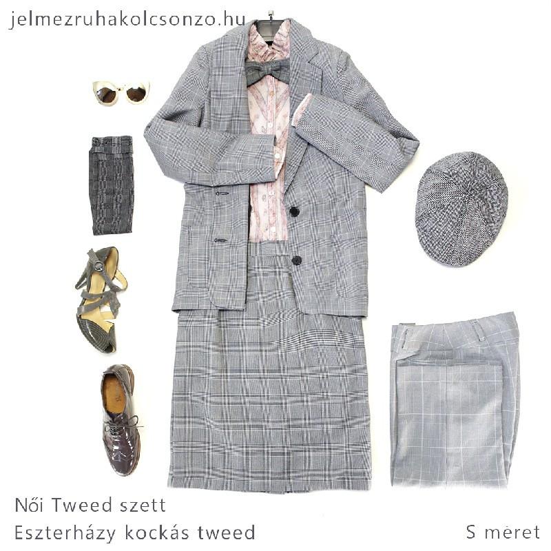 Kockás tweed kosztüm