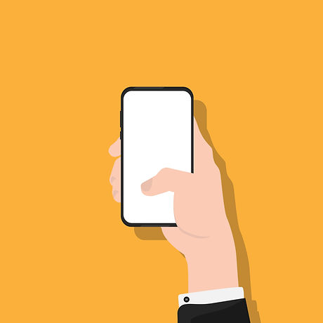 illustration of a hand holding a phone with a white screen