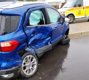 car that had been broadsided in an accident