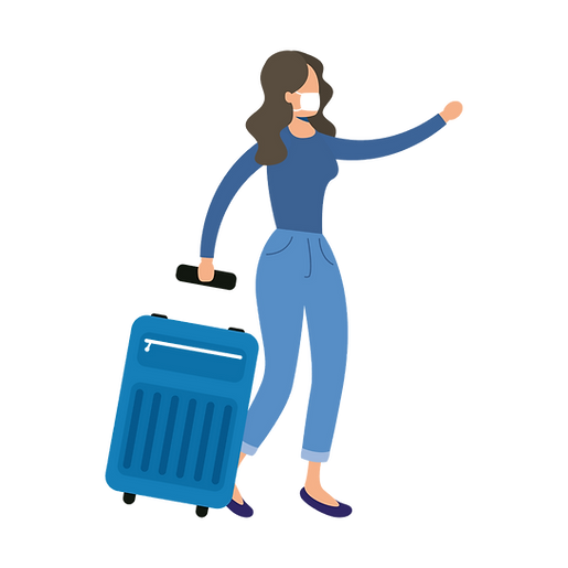 illustration of woman with blue luggage wearing a mask