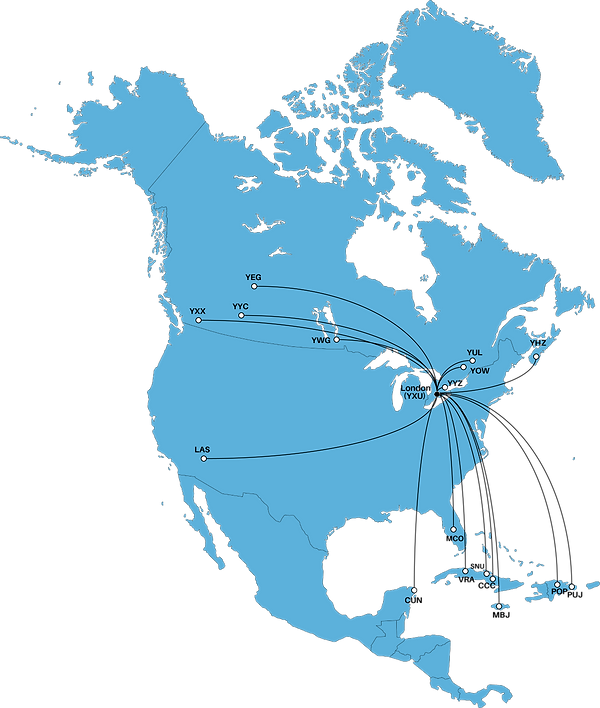 map of north america that marks all the destinations London International Airport offers non-stop flight options to