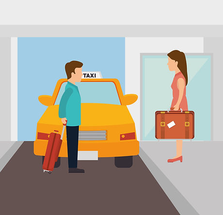 illustration of man and woman next to taxi