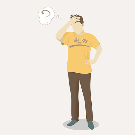 illustration of man with a question mark next to his heaed