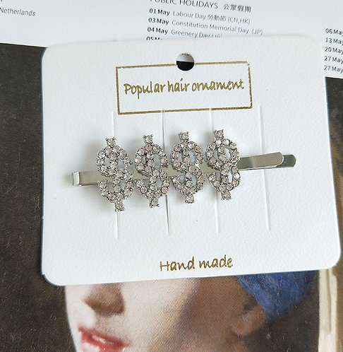 Dolla Signs blinged out hair pin