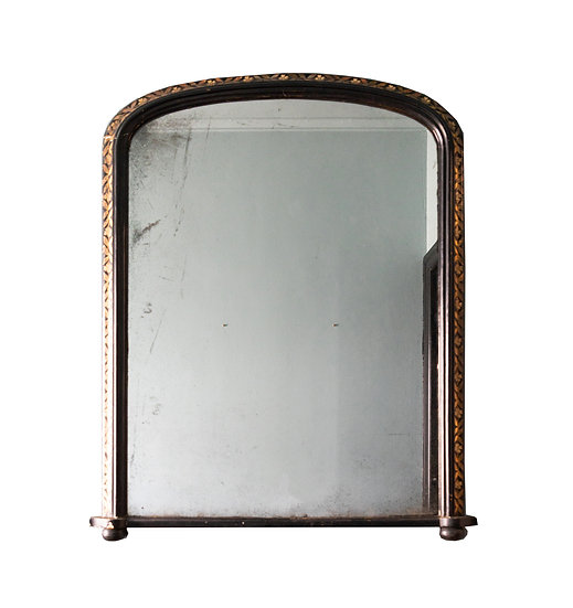 Hand-painted Black Mirror with Decorative Gold Detail